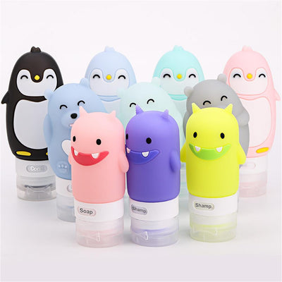 60/80/90ML Food-grade Silicone Bottles Makeup Shampoo Shower Gel Lotion Sub-bottling Tube Cute Travel Squeeze Empty Bottle