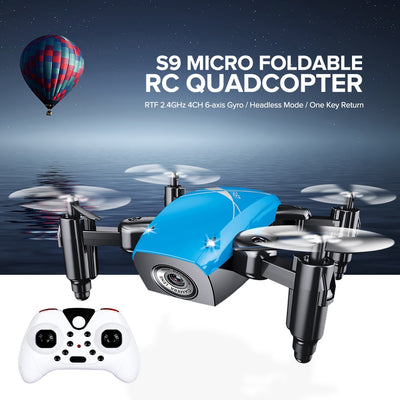 AEOFUN S9HW Mini Drone With Camera HD S9 No Camera Foldable RC Quadcopter Altitude Hold Helicopter WiFi FPV Micro Pocket Dron