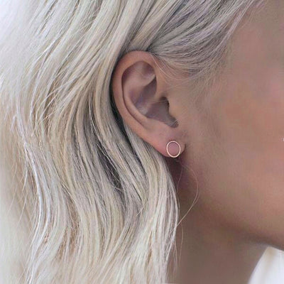 Fashion Minimalist Jewelry Gold Sliver Punk Geometric Round Circle Stud Earrings for Women Small Earrings Brincos Ear Jewelry