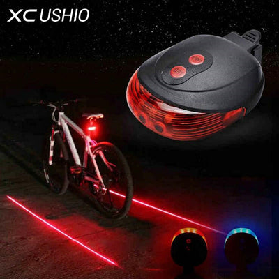 Bike Cycling Lights Waterproof 5 LED 2 Lasers 3 Modes Bike Taillight Safety Warning Light Bicycle Rear Tail Lamp