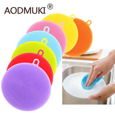 AODMUKI Silicone Dish Washing Kitchen Accessories Brush Bowl Pot Pan Wash Cleaning Brushes Cooking Tool Cleaner Sponges Scouring