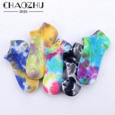 CHAOZHU New 5 Colors Tie dye Half Terry Pile Thicken Winter Socks High Quality Combed Cotton Lovers' Ankle Socks Unisex