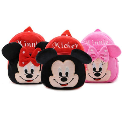 1-3 Years Baby Plush Backpack Cute Cartoon Rose Red Minni Mickey the Mouse Plush Bag Soft Toy Children's School Bag