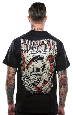 Lucky 13 Men's T-Shirt Whiskey and Tears Tattoo Hot Rod Rockabilly Print T Shirt Summer Style Top Tee