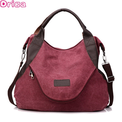 Driga 2018 Large Pocket Casual Tote Women's Handbag Shoulder Crossbody Handbags Canvas Leather Capacity Bags fashion For Women