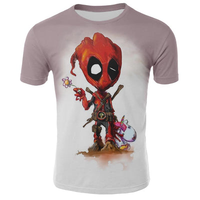 Superhero Movie T Shirt Deadpool & I Am Groot Men's T-Shirts 2019 Summer Tops Tees Hipster 100% Cotton Round Neck T-Shirts S-4XL