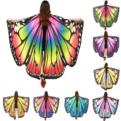 Drop Shipping HOT Women Butterfly Wings Pashmina Shawl Scarf Nymph Pixie Poncho Costume Accessory