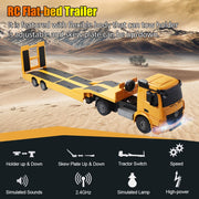 Remote Control Truck Flatbed Semi Trailer Electronics Hobby Kids Toy Yellow Engineering  Constructable Rc Truck Big size