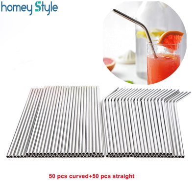 Straws Batch 100pcs/lot Metal Straw Reusable Wholesale Stainless Steel Drinking Tubes 215mm*6mm Straight Bent Straws For Drink