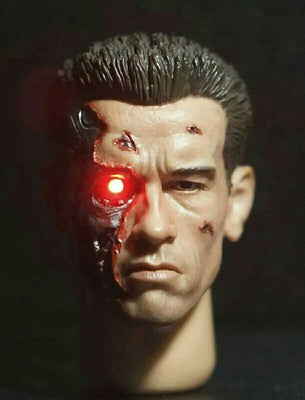1/6 Scale Male Head Sculpt Terminator 2 T800 Arnold Head with LED eyes Damage Version Model For 12