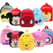 Disney Cute Cartoon Plush Toys Mickey Mouse Minnie Winnie the Pooh The Avengers Figures Backpack Kids Kindergarten school bag
