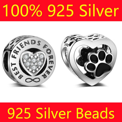 100% S925 Sterling Silver Star Love Heart Vnistar Wholesale Mom Animal Paw Sister Friend DIY 925 Silver European Bead Charms