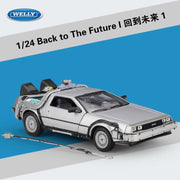 1/24 Scale Metal Alloy Car Diecast Model Part 1 2 3 Time Machine DeLorean DMC-12 Model Toy Back to the Future Part 1 W antenna