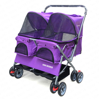 Two-seat pet stroller double sleeping bed car ultra-light folding removable washable cat dog widening care out pet car