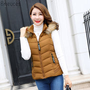 Br Women Winter Vest Waistcoat 2018 New Women's Long Vest Sleeveless Jacket Faux Fur Collar Hooded Down Cotton Warm Vest Female