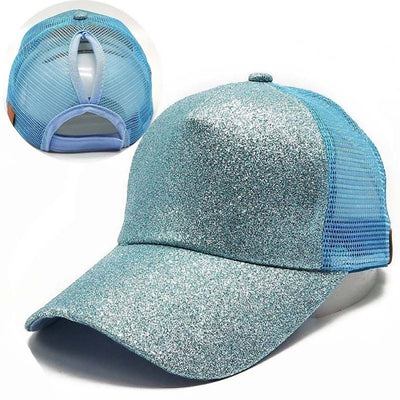 2019 Ladies Flash Ponytail Tennis Cap Sports Cap Mesh Cap Adjustable Sports Running Riding Cap