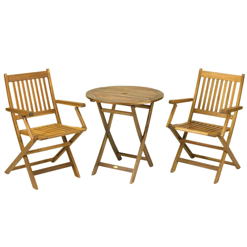 York 2 Seater Bistro Set with Folding Arm Chairs