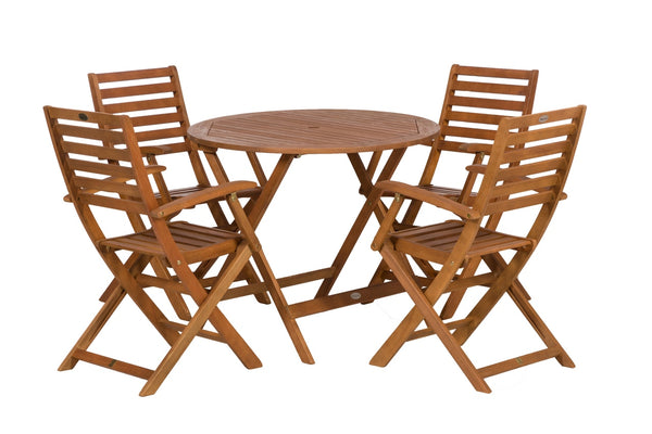 Manhattan 4 Seater Dining Set with 4 Folding Armchairs Chairs