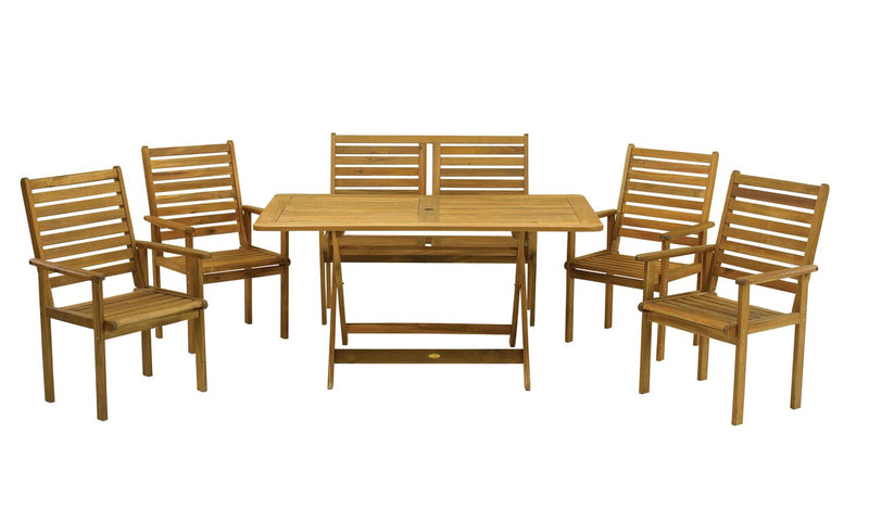 Napoli 6 Seater 6pc Bench Rectangular Dining Set