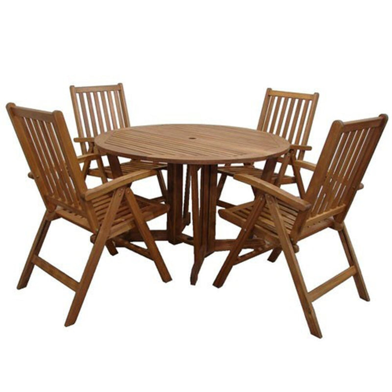 Henley 4 Seater Table with 4 Manhattan Recliner Chairs