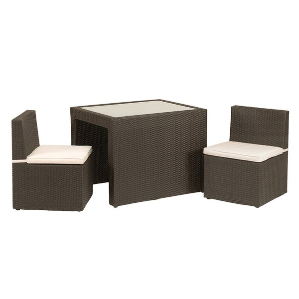 Cannes 3pc Cube Breakfast Set inc. Cushions - Mocha Brown