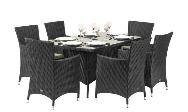 Cannes Ebony Black 6 Seat Rectangular Dining Set