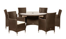 Cannes Mocha Brown K.D 7pc Round Dining Set