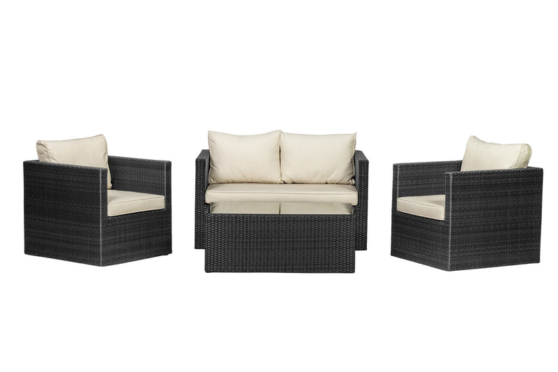 Cannes Ebony Black Fixed Sofa Set