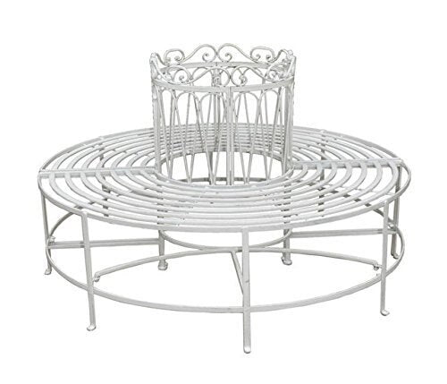 Romance Full Round Tree Bench - Antique White