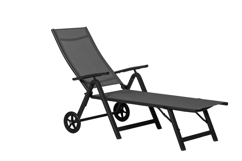 Sorrento Black Textylene Sunlounger with wheels