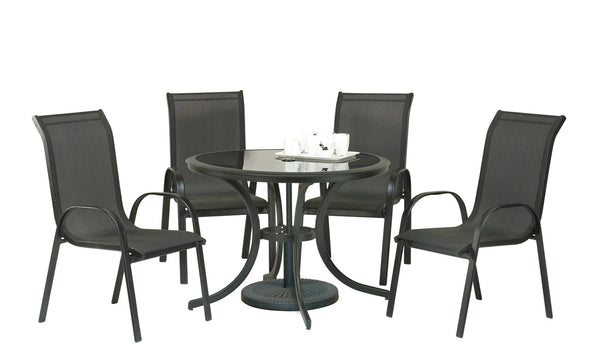 Cayman 5pc Black Round Stacking Set