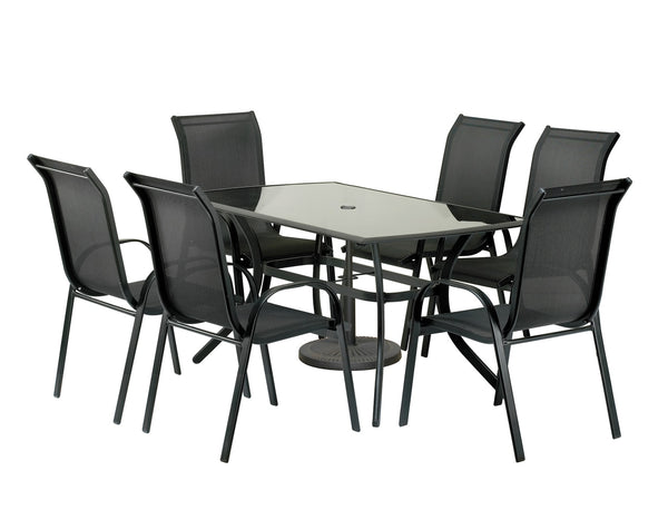 Cayman 8pc Black Rectangular Stacking Set