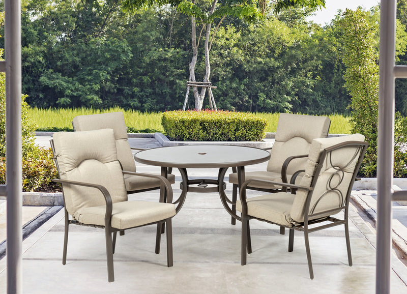 Amalfi Oatmeal 4 Seater Round Dining Set