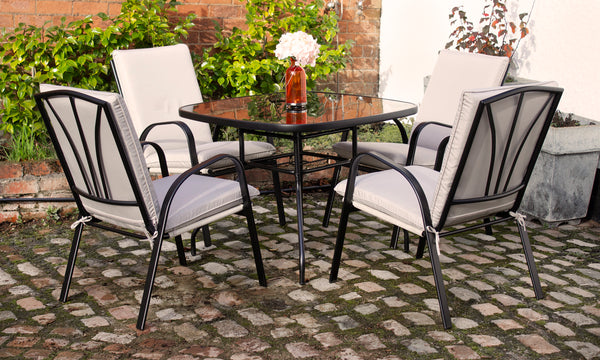 Amalfi Ivory 4 Seater Padded Dining Set