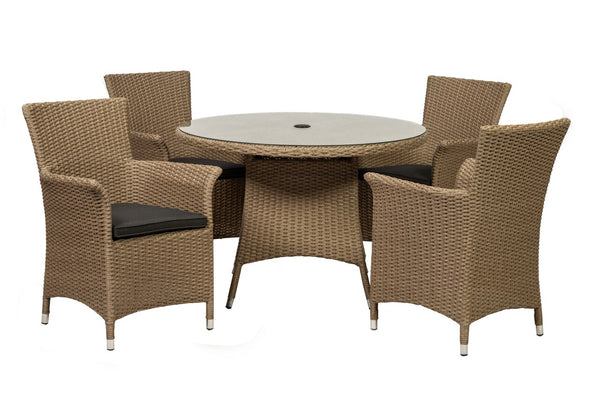 Bali 4 Seater Round Carver Dining Set