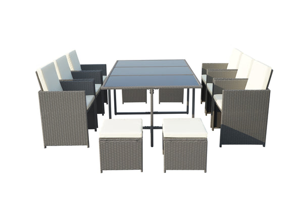 Cannes Grey 10 Seater KD Cube Set