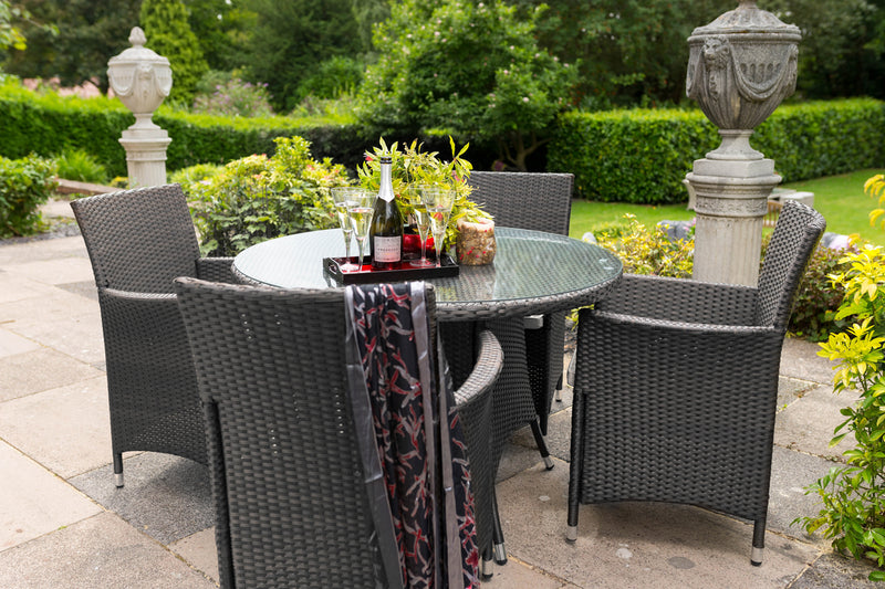 Cannes 4 Seater Round Dining Set in Ebony Black