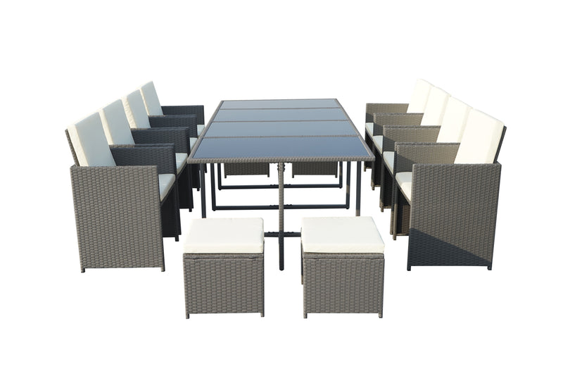 Cannes Grey 12 Seater KD Cube Set