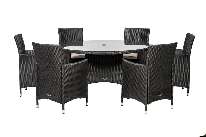 Cannes Ebony Black 6 Seat Round Dining Set