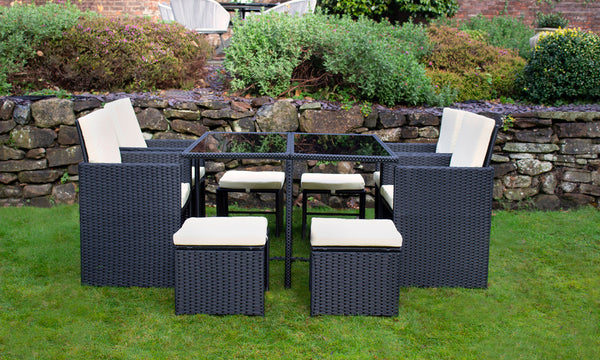 Cannes Black 8 KD Seater Cube Set