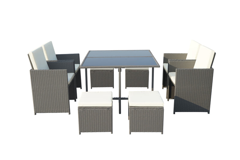 Cannes Grey 8 Seater KD Cube Set