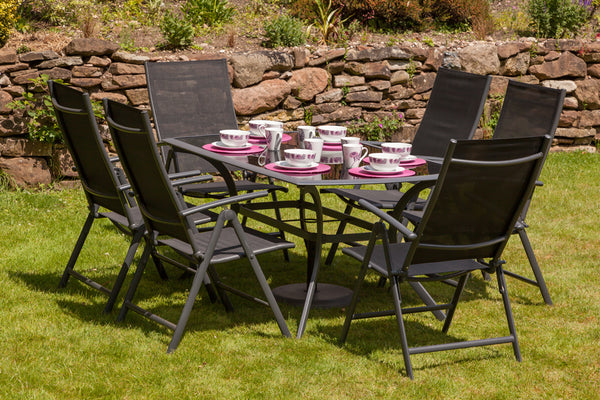 Cayman Black 6 Seater 7pc Rectangular Reclining Dining Set