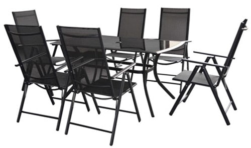 Cayman Black 6 Seater 7pc Rectangular Stacking Dining Set