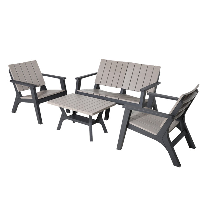 Faro 4 Piece Conversation Set - Wood Grain Effect