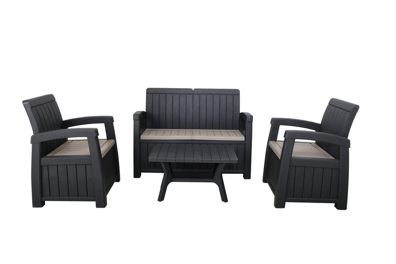 Faro 4 Piece Conversation Storage Bench Set - with Cushions