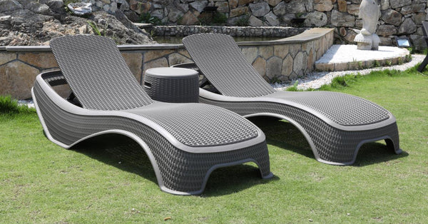 Faro Grey Sun Lounger and Ice Bucket Set