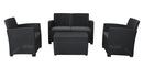 Faro 4 Piece Conversation Set - Black Rattan Effect