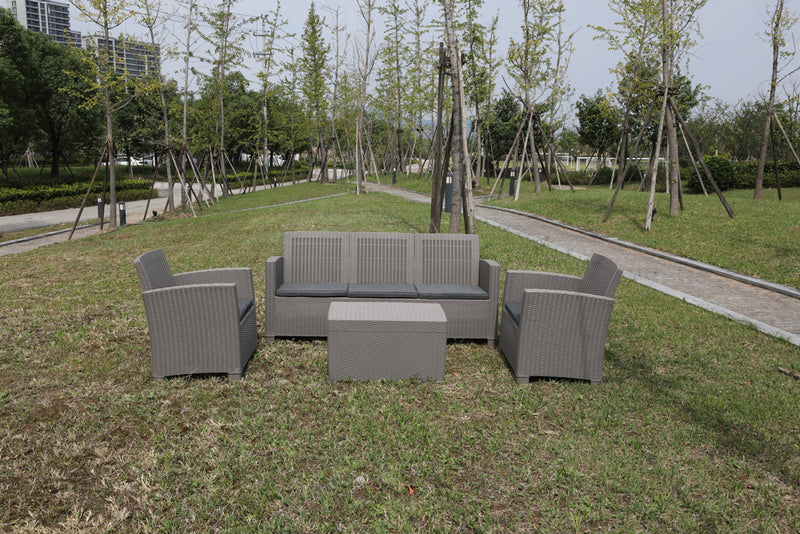Faro 4 Piece Conversation Set - Grey Rattan Effect