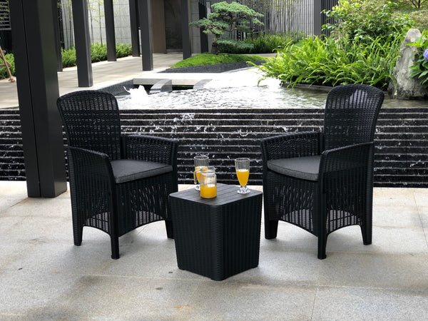 Faro Bistro Set - Black Rattan Effect