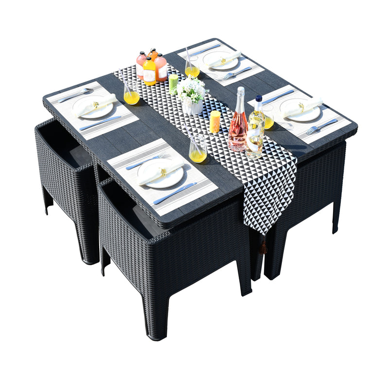 Faro 4 Seater Deluxe Cube Set - Black Rattan Effect